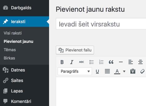 WordPress darbagalds latviešu valodā